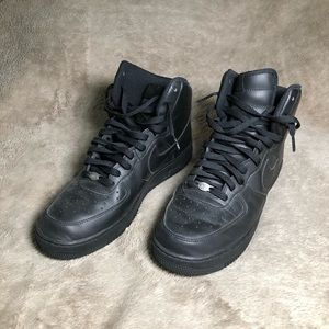 Nike Black Leather Airforce 1's Size 11